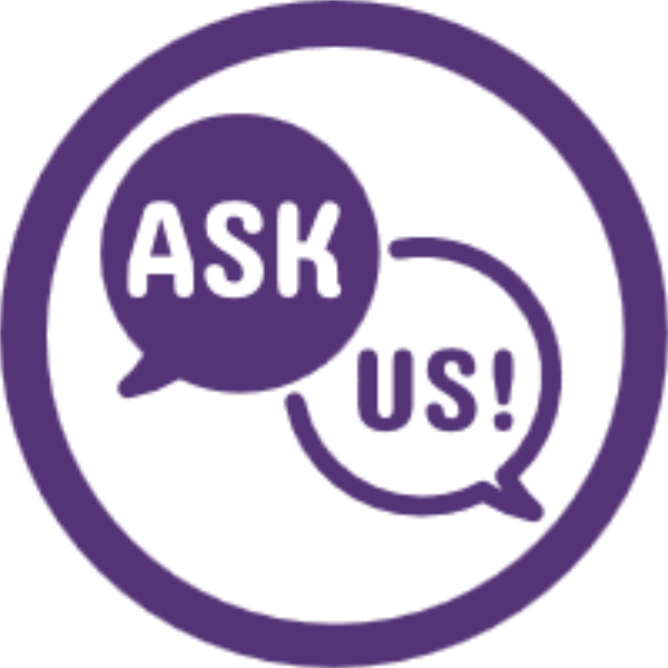 Ask Us Icon - two bubbles with the words ask and us!