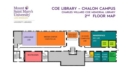 Floor map of Coe Library - 2nd Floor (pdf available)