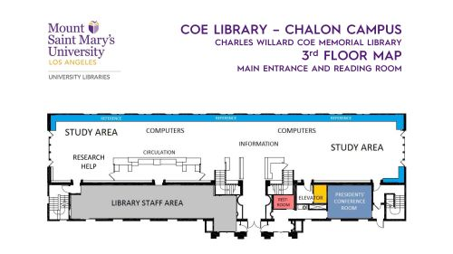 Floor map of Coe Library - 3rd Floor - main floor (pdf available)