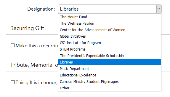 Donation designation dropdown menu - libraries