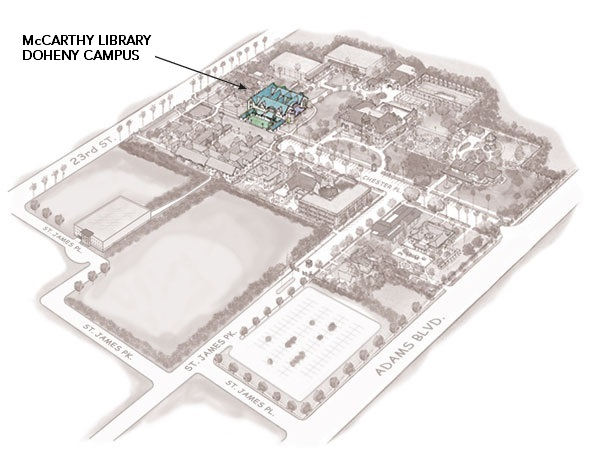 Shows position of the McCarthy Library building on Doheny Campus (map)
