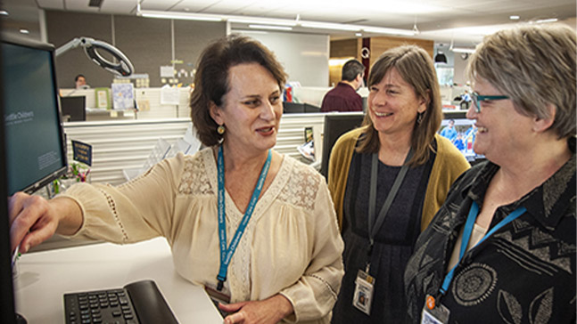 Elaine Walsh '86 BSN (left) is a nurse scientist at Seattle Children's Hospital, where she studies resilience in nursing and uses research to support the need for stress recognition and self-care