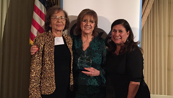 Mary Lou de Leon Siantz '69, center, with her former Mount professor, Betty Williams, right, and Angie Millan, former president of the National Association of Hispanic Nurses, at the National Hispanic Health Foundation gala on Dec. 14.
