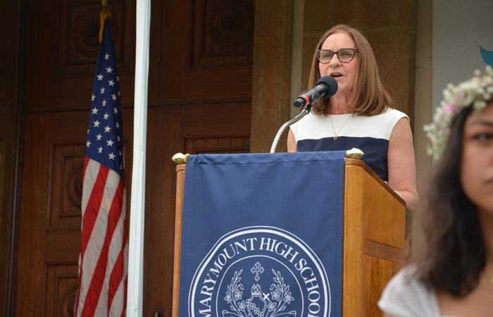 MSMU President Ann McElaney-Johnson was invited to deliver the commencement address to Marymount High School's Class of 2018.