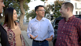 Henry Bouchot '17 MBA campaigning during his race for Whittier City Council.