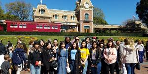 International students toured L.A. (including this visit to Disneyland!) during the 2018 spring break.