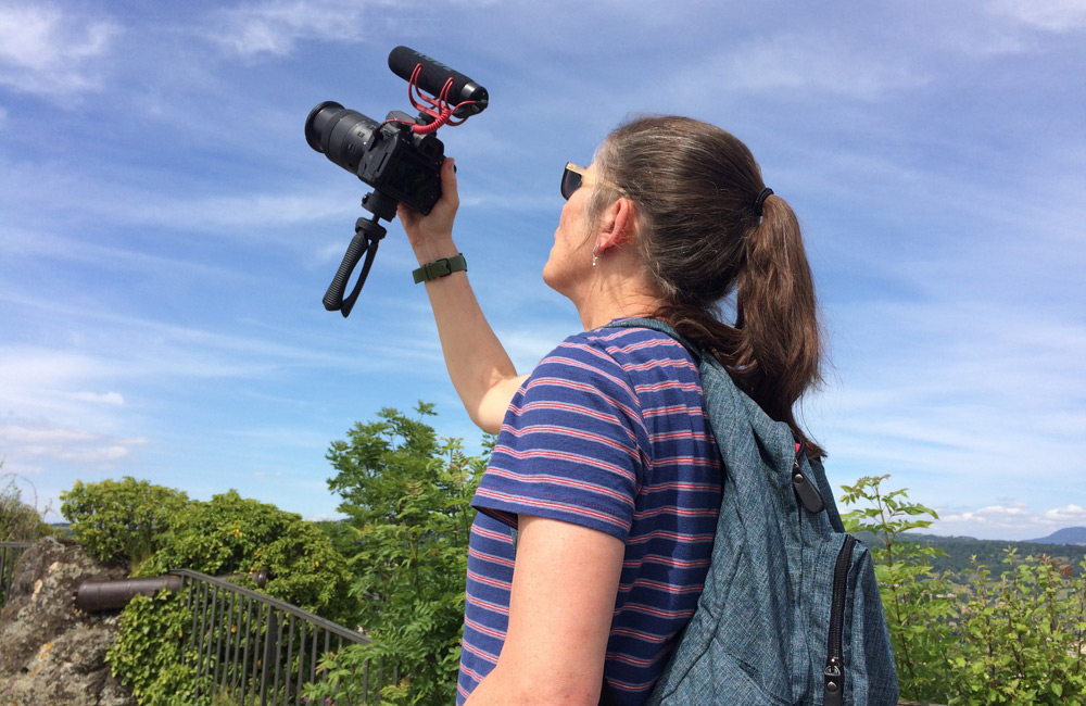 Mary Trunk records b-roll during a University pilgrimage to Le Puy, France, this summer. A documentary filmmaker and Mount instructor, Trunk is the co-producer of the CSJ Oral History Project.