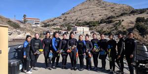 STEM students getting ready to snorkel in a marine protected area near Catalina Island.