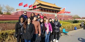 MBA students outside the Forbidden City Beijing during a nine-day trip to China.