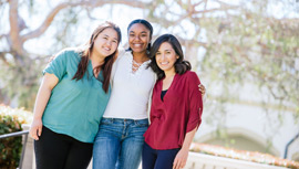 Three students from the Mount's award-winning Global Women in STEM and Policy undergraduate research program.