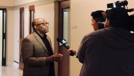 Tim Cogshell is interviewed by NBC4's Ted Chen about the Academy Award on Jan. 24.