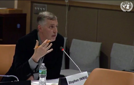 Stephen Inrig, PhD, presents at the United Nations headquarters in New York on Jan. 24