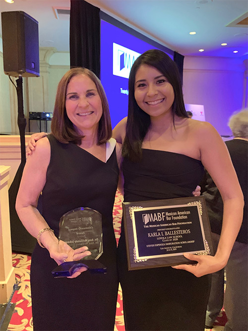President Ann McElaney-Johnson receives the Community Impact Award from the Mexican American Bar Foundation. MSMU alumna Karla Ballesteros '16 also was honored with the Steven Espinoza Immigration Scholarship to be used during her final year of law school.