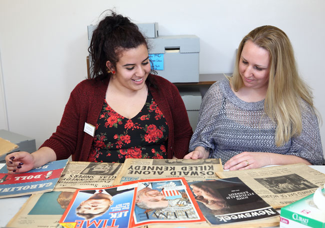 Luz Sandoval '18 and Jenelle Wilson '18 discovered the donor's identity while creating an inventory of the collection.
