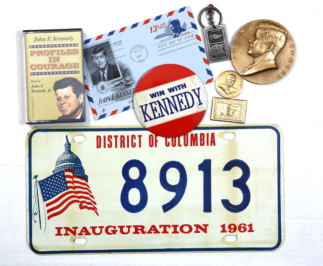 Aside from newspapers and magazines covering major events in President John F. Kennedy's time in the White House, the inventory includes campaign buttons, collectible postmarks, inauguration memorabilia and audio cassettes.