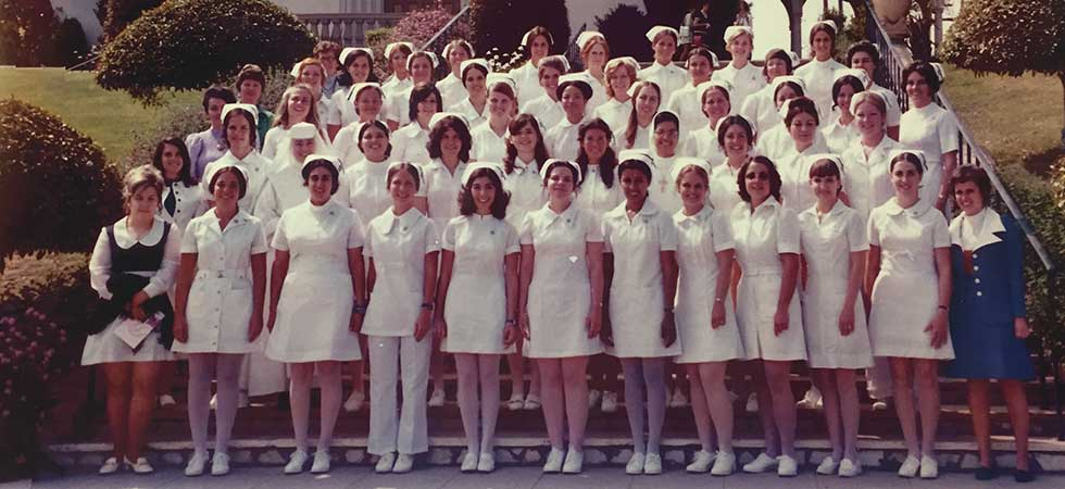 The nursing class of 1973 with Sister Callista Roy, far right.