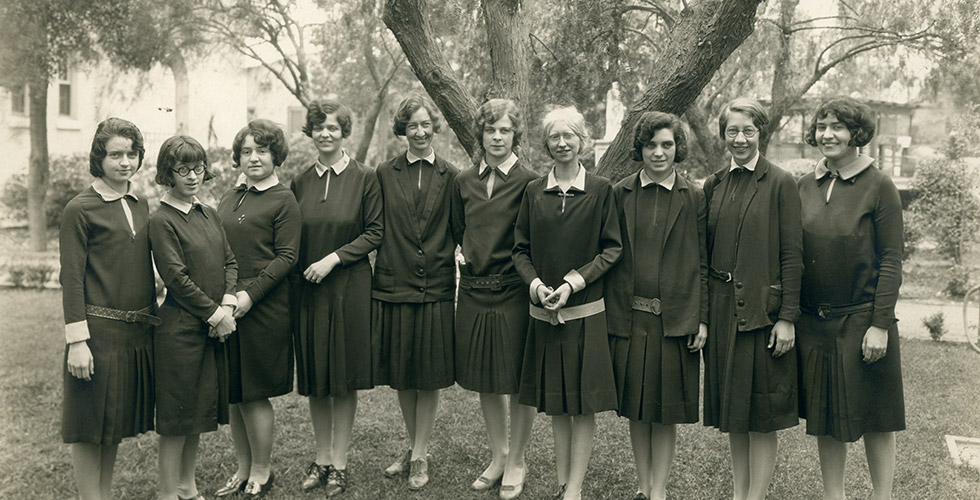 The first graduating class of Mount St. Mary's College (the University's former name) lines up for a group portrait at St. Mary's Academy at Slauson Ave. and Crenshaw Blvd. in Los Angeles, where the college met until the Chalon Campus could be occupied.
