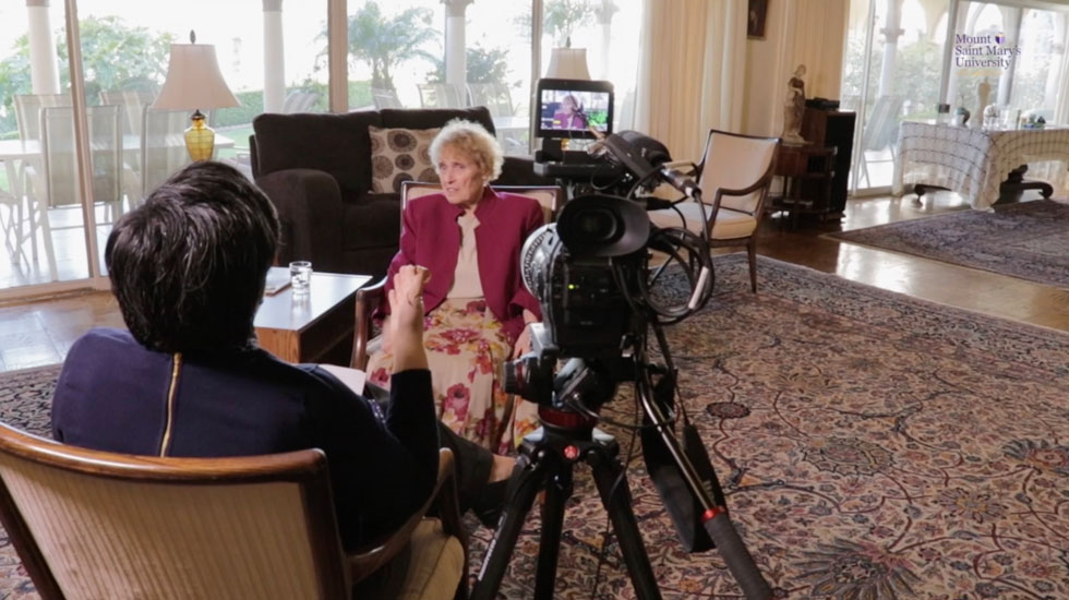 Sister Callista Roy '63 chats on camera with Shannon Green, director of the CSJ Institute.