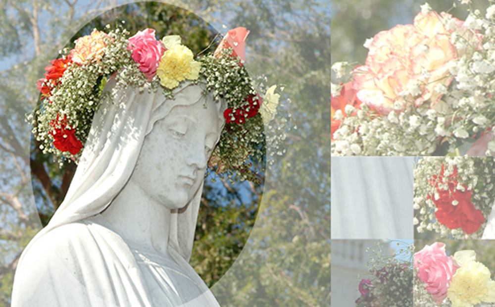 A decorative photo of statues of Mary