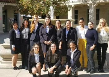 Members of MSMU's 2018 Mock Trial team pose for a photo at the American Mock Trial Association's season-ending regional competition.