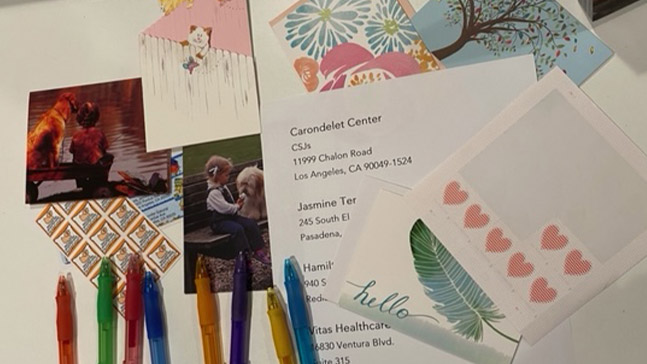 A selection of stationery, stamps, stickers and colorful pens gathered in advance of the letter writing session to isolated seniors, including our beloved sisters.