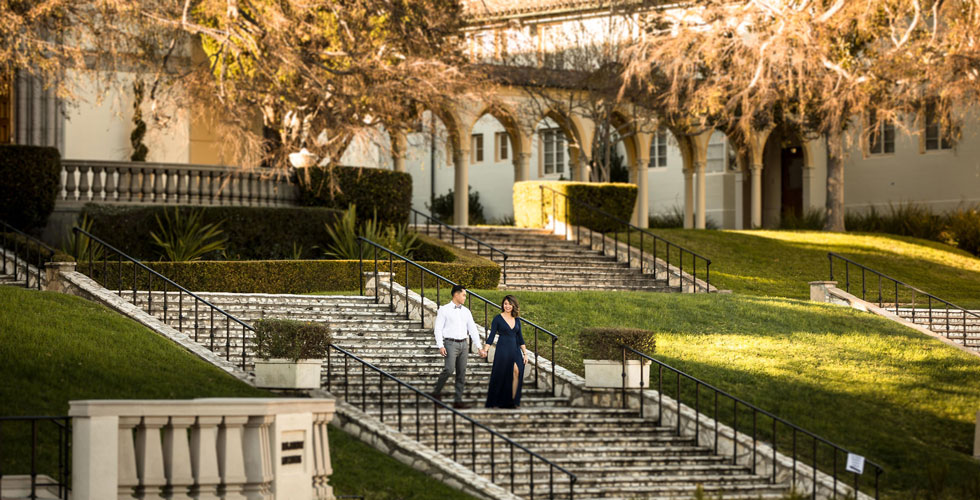 Nursing alums Jocely Roque '13 and Kevin Namuag '15 chose the Chalon Campus as the backdrop for their engagement photos.