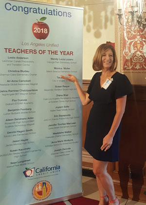 Monica Multer '92, '96 MS was honored as one of Los Angeles Unified School District's Teachers of the Year 2018