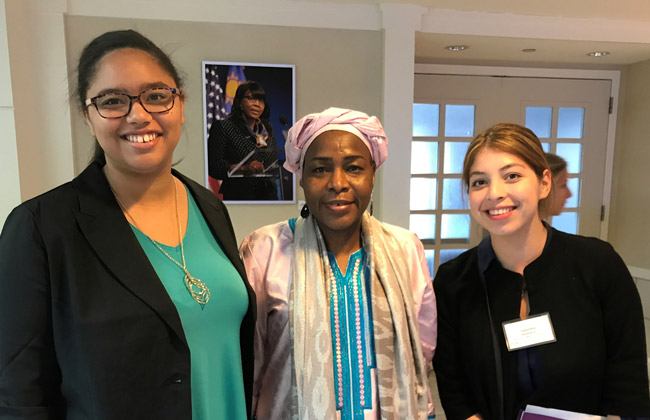 From left: Kia Frazier-Humphrey '19, Ambassador Hassana Alidou of the Republic of Niger to the United States, and Gabriela Ballesteros '19 at a PLEN reception for the Women in Global Policy Seminar in May 2017