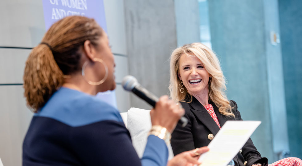 First Partner Jennifer Siebel Newsom spoke with State Senator Holly J. Mitchell about how to make California more gender equitable at the VIP Luncheon segment of The Report on the Status of Women and Girls in California event on March 28.