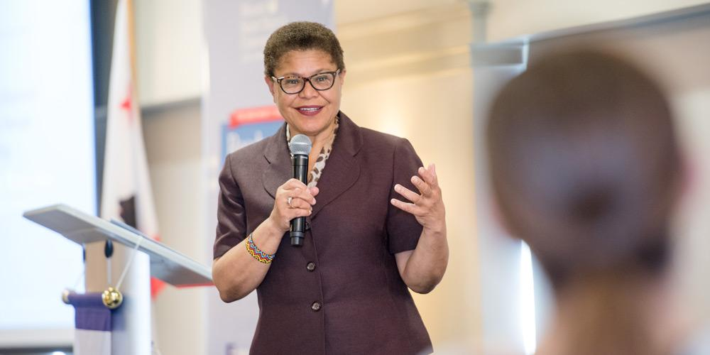 U.S. Rep. Karen Bass answers a question during her opening keynote at Mount Saint Mary's 2018 Ready to Run nonpartisan campaign training for women.