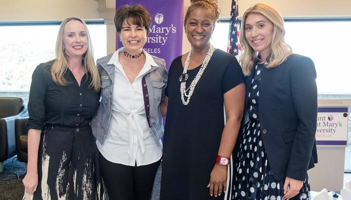 Four speakers at MSMU's Ready to Run: Jackie Filla, PhD, associate professor of political science; State Sen. Connie Leyva; State Sen. Holly J. Mitchell; Emerald Archer, PhD, director of the Center for the Advancement of Women at MSMU.