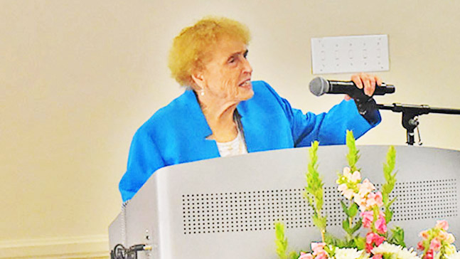 Sister Callista Roy speaking at the Roy Adaptation Association Conference in June 2019