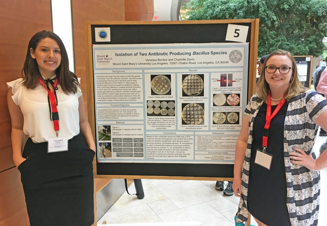 MSMU science scholars Vanessa Benitez and Charlotte Davis present their antibiotics research at the 2018 Tiny Earth Symposium, in Madison, Wisc.