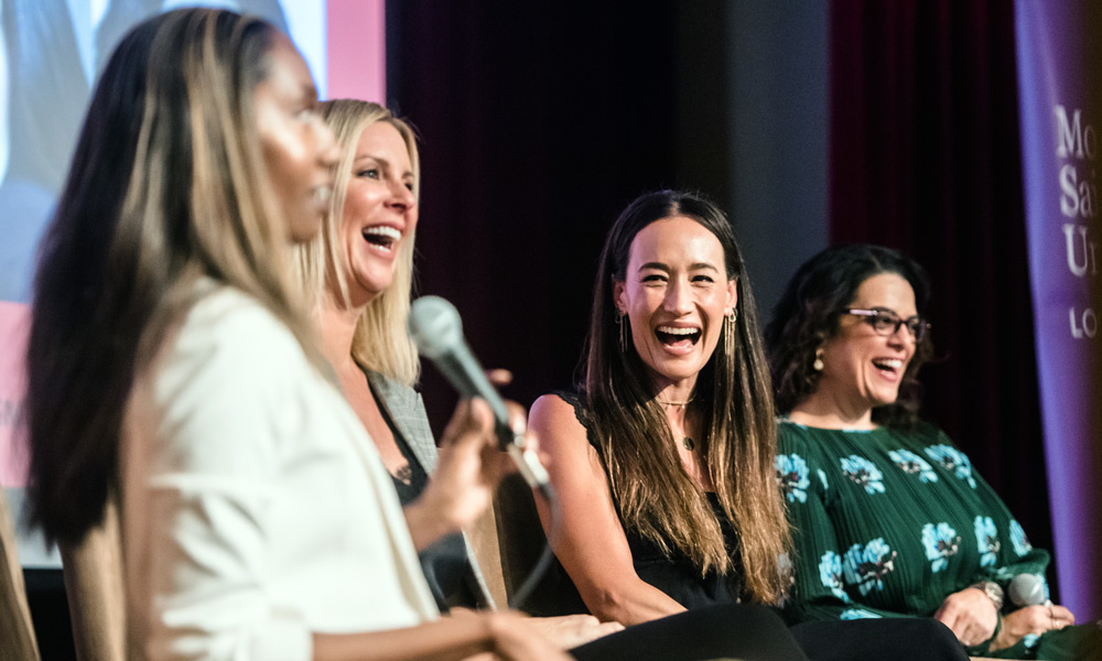 The 2018 Women's Leadership Conference in Los Angeles closed with a panel on the connection between self-care and effective leadership, featuring (left to right) moderator Joy Donnell, CEO of Parajin Media and editor-in-chief of Vanichi Magazine; Amy Denoon, CEO of Beach House PR; Maggie Q, actor, model and activist; and Jess Weiner, CEO of Talk to Jess.