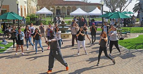Students engage in a session of Tae Bo, led by Tae Bo creator Billy Blanks.