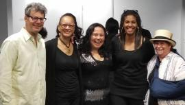 The Kite City Playwrights formed their cooperative as graduates in the MFA in Creative Writing program. From left: Honorary member Johnny Payne, PhD, director of the MFA in Creative Writing; Sharon Cleveland Blount '18; Myrna Aguilar '18; Sharnell Blevins '19; and Melinda Canny '17.