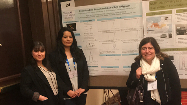 "Celeste Tobar '19, Regina Cordova '18 presenting at the ""Practical Applications of NMR in Industry"" Conference"
