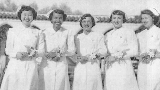 Historic photograph of MSMU nursing students