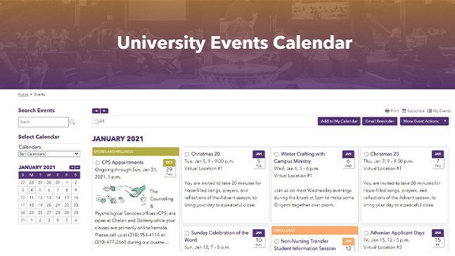Head to the University Events Calendar to take advantage of the many events that you can attend (remotely for now).