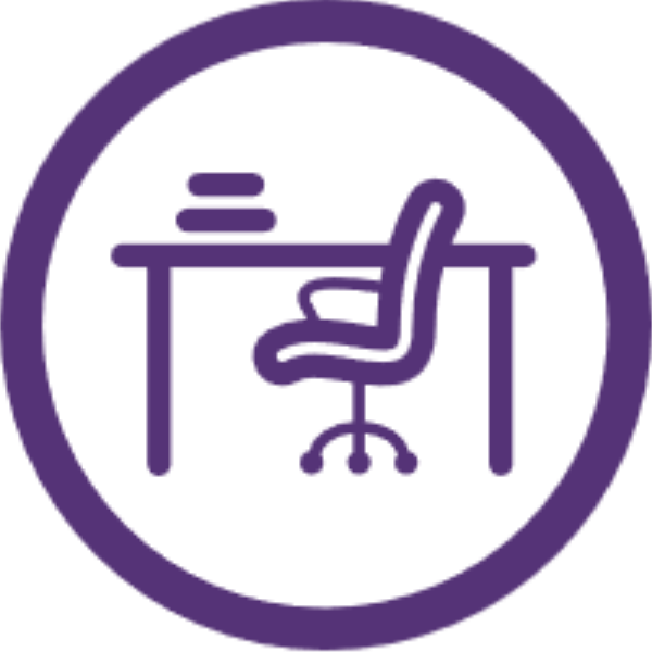 study spaces icon desk and chair