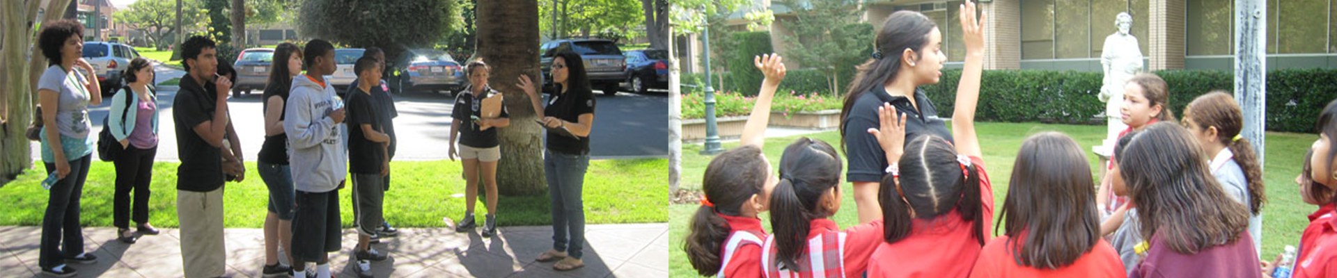 tour guides with groups of younger students
