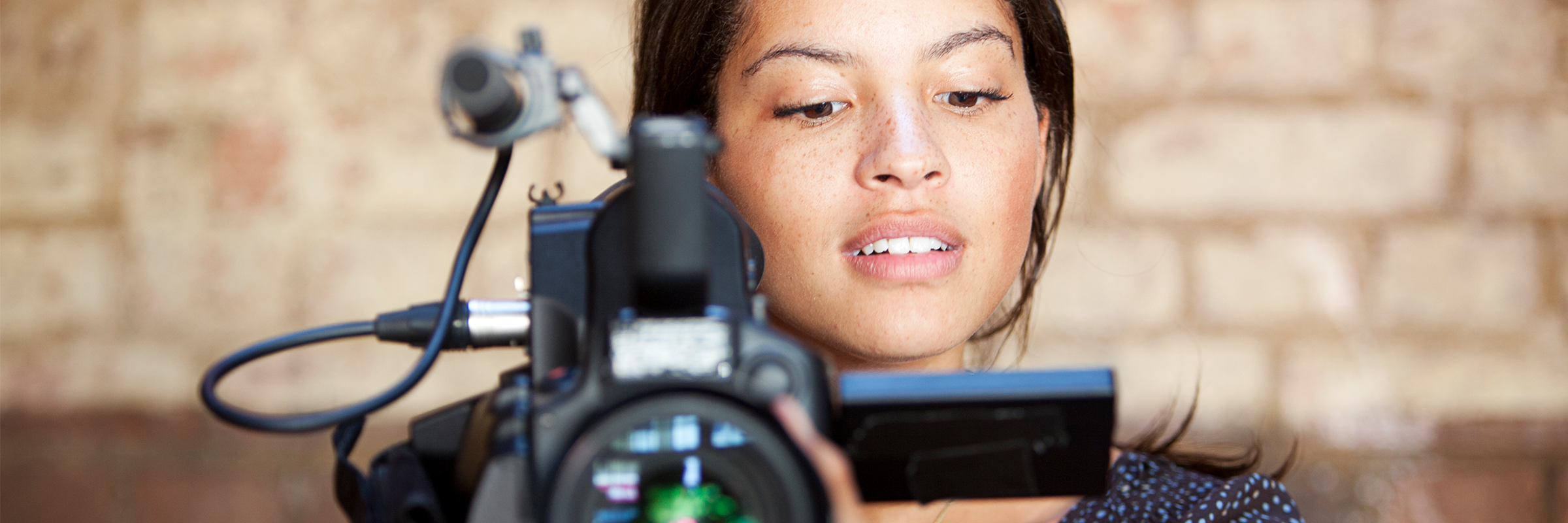 woman using a professional camera